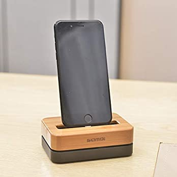 Samdi Wood Charging Station Dock, Cell Phone Charging Dock Stand Holder with Stable Aluminum Base for iPhone SE 5 5s, 6…