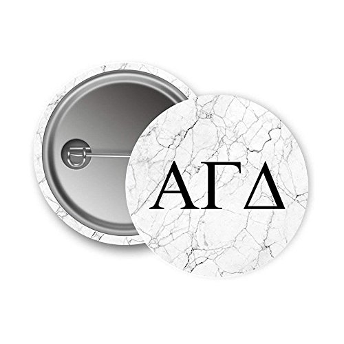 Alpha Gamma Delta Sorority Light Marble with Black Letters Pin Back Badge 2.25-inch Button Alpha Gam