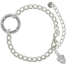 Small Acorn with Crystals Protect This Woman Affirmation Ring Bracelet