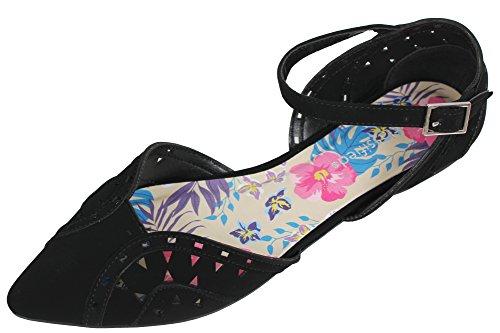 City klassifisert Womes Spisse Tå Cutout Ankel Strap Flat Sandal Sort