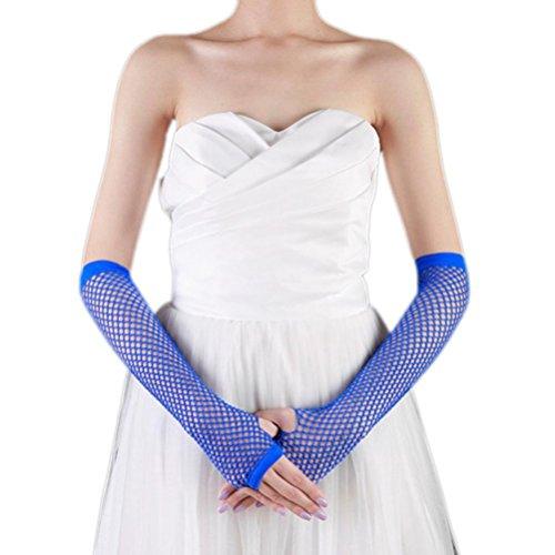Binmer(TM) Punk Goth Lady Disco Dance Costume Lace Fingerless Mesh Fishnet Gloves (Blue)