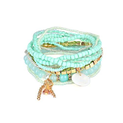 Akvode Set of 9 Women's Fashion Blue Bohemian Style Tassel Bracelets Shell Pendant Multicolor Pearl bracelets (Bangles Wooden Shell)