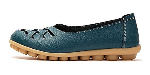 Müßiggänger Leder Casual Eagsouni Flache Mokassins Damen Fahren Freisteller Sandalen Bootsschuhe Blau Enq44CZw