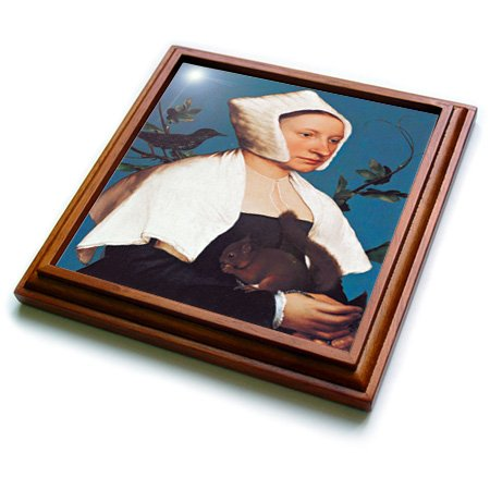 3dRose trv_149574_1 A Lady with a Squirrel and a Starling by Hans Holbein The Younger Trivet with Ceramic Tile, 8 by 8'', Brown by 3dRose