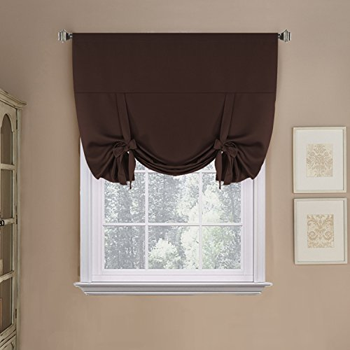 H.Versailtex Blackout Energy Saving Thermal Insulated Tie-up Curtain for Small Window, Chocolate Brown Shade, 42x63-Inch,Rod Pocket Panel for - Brown Window Curtain
