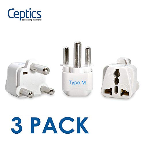 Ceptics South Africa Travel Plug Adapter (Type M)   3 Pack [Grounded