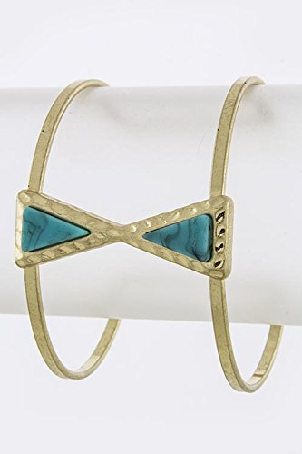 KARMAS CANVAS TRIANGLE ACRYLIC GEM ACCENT CUFF (Gold/Turquoise)