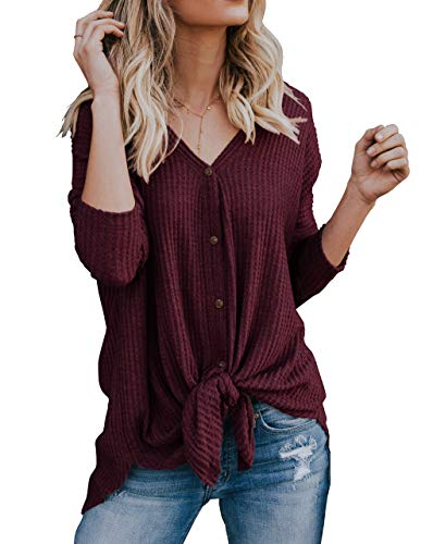 IWOLLENCE Womens Loose Henley Blouse Bat Wing Long Sleeve Button Down T Shirts Tie Front Knot Tops Wine Red XL