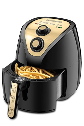Black+Decker 2.5 Liter 800g 1500W Manual Air Fryer AerOfry with Rapid Air Covection Technology, AF250G-B5 Black/Gold, 2 Years Warranty