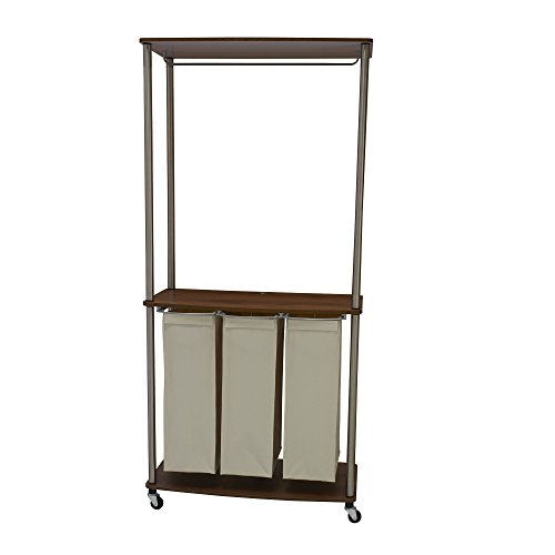 Household Essentials 7061-1 Walnut Triple Laundry Center with Folding Table and Clothes Rack
