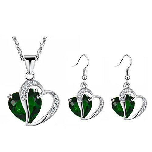 Earrings 18kgp Pendant Set (fonk: 18KGP Heart rhinestones Pendant Necklace Earrings set 80172)