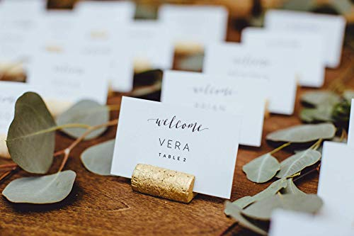 Gold Wine Cork Place Card Holder or Place Setter, Wine Cork Name Badge Name Card Holder, Wine Theme Wedding Place Card Holder -