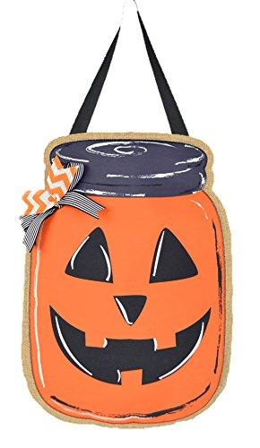 JEC Home Goods Jack O Lantern Decoration Door Hanger - Halloween Mason Jar - Front Door Decoration or Wall Decor on Burlap - Large 18 Inch Size]()