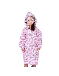 Children 's Peony Print Hooded Waterproof Raincoat