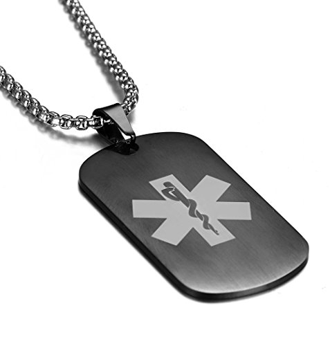 JF.MED Gun Black Plated Stainless Steel Medical Alert ID Pendant Necklace,Free Engraving 24 inch (Diabetes Id Necklace)