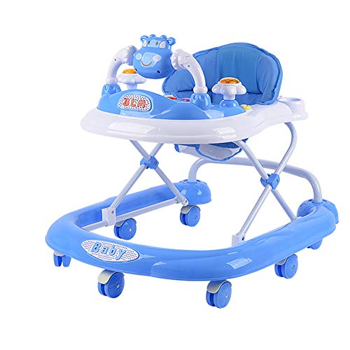 YXG- Baby Walker 6/7-12 Months Child Anti-Rollover Multifunction Music Foldable U-Type Learning Car Trolley (Color : Blue)