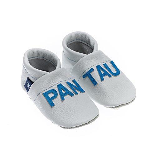 pantau.eu Lederpuschen Leder Krabbelschuhe Lauflernschuhe Hausschuhe Babyschuhe mit PANTAU Schrift WEISS_HELLBLAU