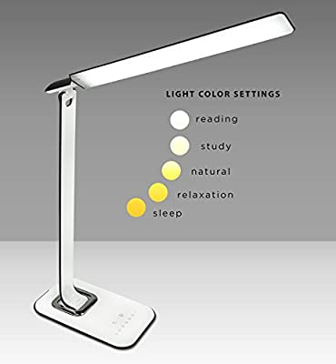 Turcom LED Desk Lamp, Table Lamp, Dimmable, USB Ports for Chargers, Touch Sensors, Eye-Protective, Natural White Light to Classic Orange for Relaxing, Reading, Bedroom, 5W, 1000 Lux (TS-7005)