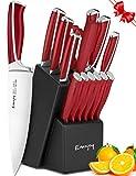 Knife Set, 15-Piece Kitchen Knife Set with Block, ABS Handle for Chef Knife Set, German Stainless Steel, Emojoy