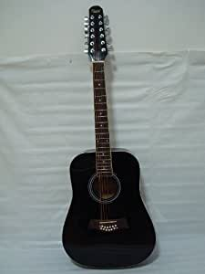 ktone 12 string acoustic electric guitar w 4 band eq black musical instruments. Black Bedroom Furniture Sets. Home Design Ideas