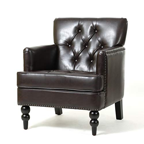 (Christopher Knight Home Tufted Club Chair, Decorative Accent Chair with Studded Details - Brown)