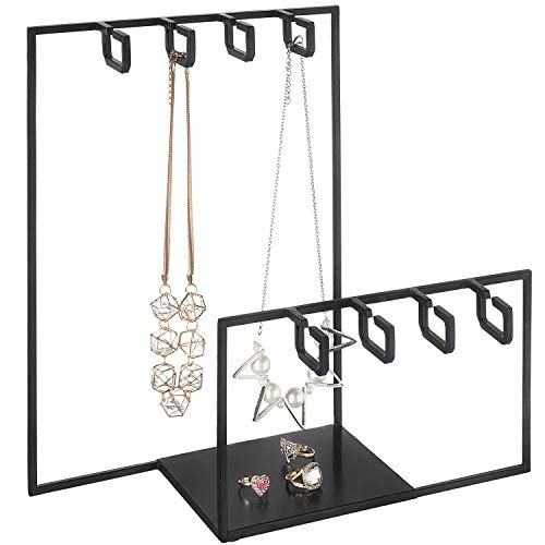 12-Inch Black Metal 8 Hook Offset Key Chain Holder, Jewelry Organizer Rack w/Ring Tray -  MyGift, TB-J0292BLK