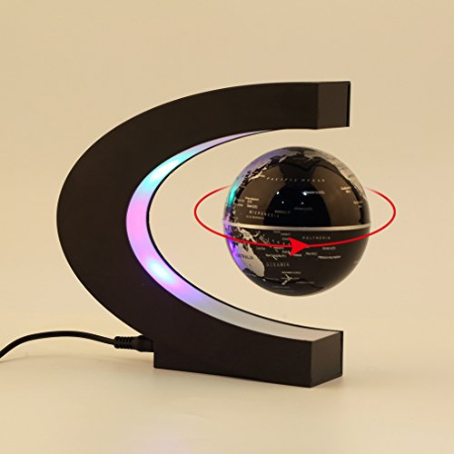 YANGHX Floating Globe 3 inch with LED Lights C Shape World Map for Desk Decoration