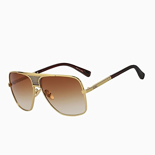 Brown más Vintage hombre gold de de verano Gafas nuevo bastidor marca sol oro gafas gafas W del sol de marrón de sobredimensionado marrón TIANLIANG04 brown diseñador estilo de UV400 Oculos Sol w de 8qAICwqx