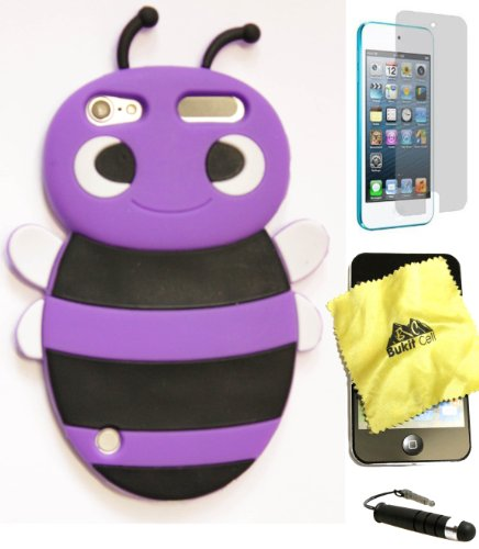 Bukit Cell ® PURPLE 3D BEE Soft Silicone Skin Case Cover for iPod Touch 5 5G 5th Generation + BUKIT CELL Trademark Lint Cleaning Cloth + Screen Protector + METALLIC Touch Screen STYLUS PEN with Anti Dust Plug [bundle - 4 items: case, cloth, stylus pen and screen protector] (Touch Cases Animal 4 Ipod)