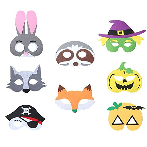 BeAhity Animal Felt Masks for Kids Party,Masquerade Masks - 8 Pcs Cartoon Half Masks with Elastic Rope Cosplay Mask -