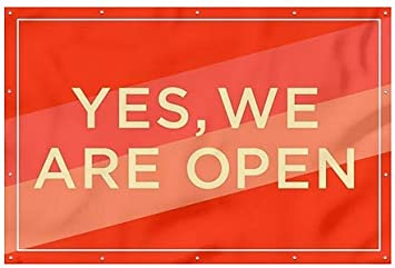 9x6 CGSignLab Yes We are Open Modern Diagonal Heavy-Duty Outdoor Vinyl Banner
