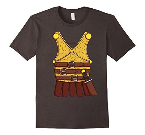 Mens Gladiator Costumes Tshirt (Mens Gladiator Costume T-Shirt for Halloween Roman Cosplay Tee Medium Asphalt)