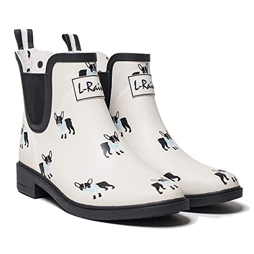 LR L-Rain Women's Short Rain Boots Waterproof and Anti-Slipping Rain Shoes Chelsea Booties-White French Bulldog-Size 5