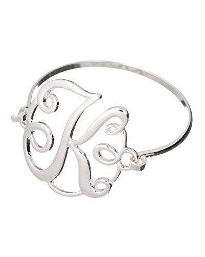 Jewelry Nexus Initial K MONOGRAM Designer Silver-tone Filigree Wire - Filigree Monogram