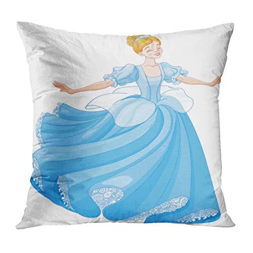 - Throw Pillow Cover Princess The Royal Ball Dance of Cinderella Fairy Beautiful Dress Girl Decorative Pillow Case Home Decor Square 18x18 Inches Pillowcase