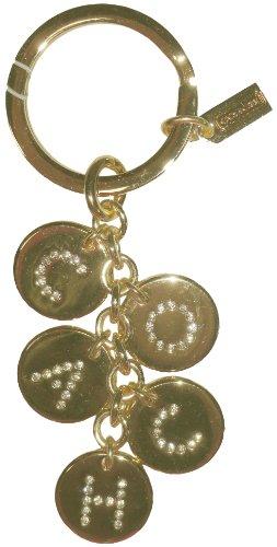 Coach Gold Discs w/Crystals Spelling C-O-A-C-H Key Chain, Key Ring, Key Fob F69939