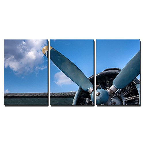 wall26 - 3 Piece Canvas Wall Art - Propeller and Engine of Vintage Airplane - Modern Home Decor Stretched and Framed Ready to Hang - 16