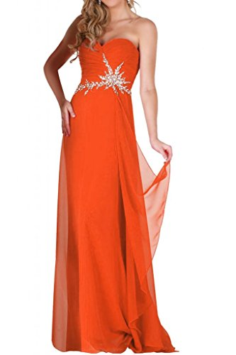 En forma de corazón de Toscana de la gasa de la novia vestidos de noche para mujer piedras madrinas a largo bola de vestidos de fiesta naranja