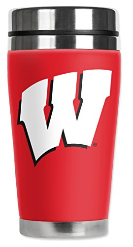 Mugzie Wisconsin Badgers Travel Mug with Insulated Wetsuit Cover, 16 oz, Red (Wisconsin Insulated Mug compare prices)
