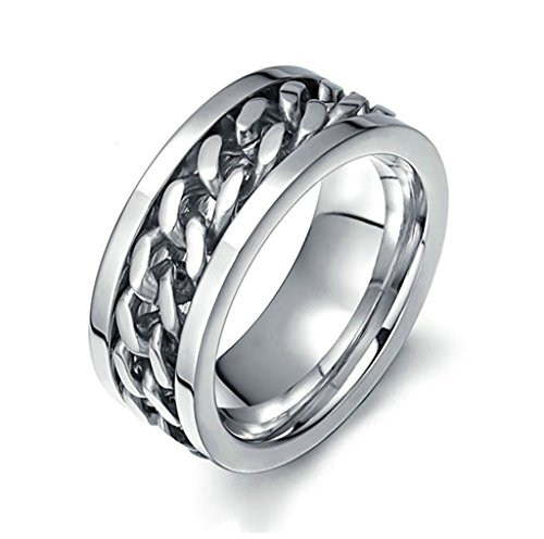 AmDxD Jewelry Stainless Steel Men Engagement Rings Silver Chain Design,Free Lettering,Size (District 9 Costume Design)