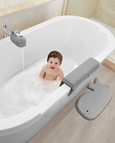 Skip Hop Moby Baby Bath Set with Four Bathtime Essentials, Spout Cover, Bath Kneeler, Elbow Pad, and Waterfall Rinser, Grey