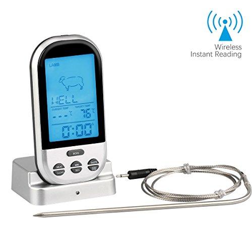 Kochen Thermometer , JELEGAN Wireless Remote Digital Thermometer Instant Lesen Elektronische Thermometer mit Edelstahl Sonde Countdown Timer & Alarm für Küche Kochen Backen Grillen BBQ Fleisch Steak