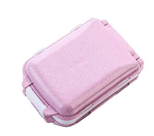 (Portable Folding Pill Case Medicine Vitamin Drug Pills Storage Box Cases Drugs Capsule Splitters Container Plastic Empty Drug Boxes Travel Case (Pink))