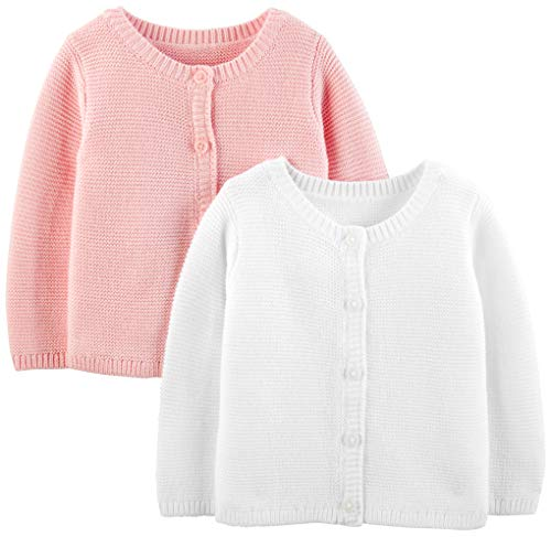 Simple Joys by Carter's Girls' 2-Pack Knit Cardigan Sweaters, White/Pink, 24 Months