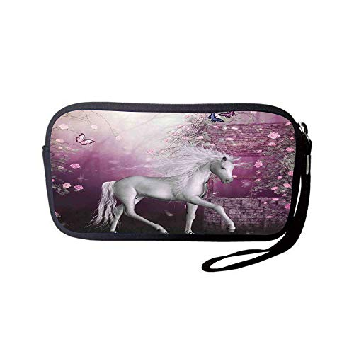 llet Bag,Coin Pouch,Fantasy Decor,Unicorn in Rose Garden Summer Flying Butterflies Romance Fairy Tail Themed Art Decorative,Pink White,for Women and Kids ()