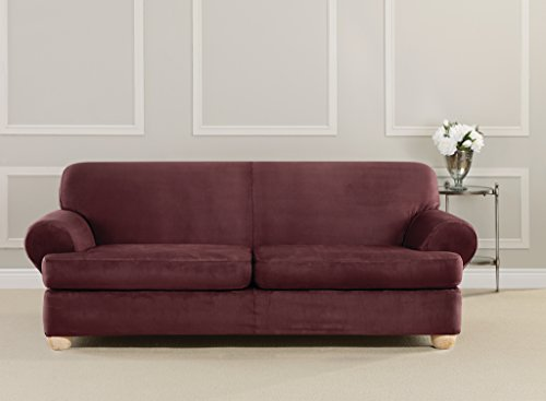 Sure Fit Ultimate Stretch Suede T-Cushion - Sofa Slipcove...