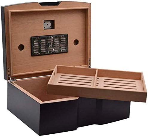 シガーボックス 湾曲したU字型のデザインピュアブラックマットレトロシーダーウッド可視湿度計シガーボックス シガーボックス