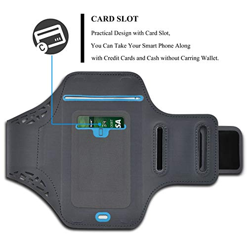 Njjex Cell Phone Armband Running Phone Holder Sports Arm Band Strap Gym Pouch for Samsung Galaxy S20 Ultra S20+ S10 S10e S9 Note 10+ 9 8 A01 A10e A11 A20 A21 A51 A71 5G LG Stylo 6 5 4 K51 K31 -Black