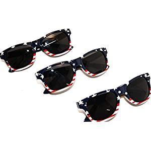 American Flag U.S.A. Beach and July 4th Series Sunglasses (3) Pack for Kids Under 12
