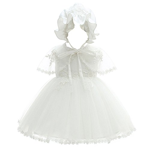 Coozy Baby Girl Christening Dress Princess Party Wedding Dress Baptism Growns Dresses 3Pcs Set (3M(0-6Months), Ivory)